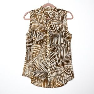 Banana Republic | Palm Printed Sepia Blouse 10